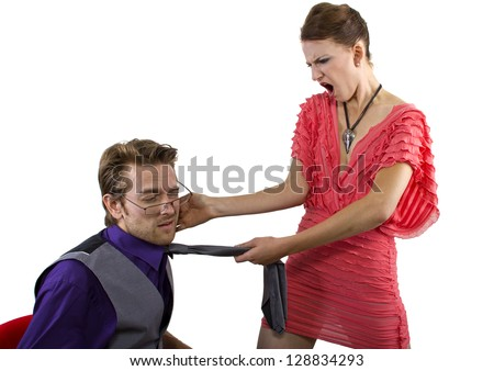 Woman slapping her boyfriend.  isolated on a white background - stock photo