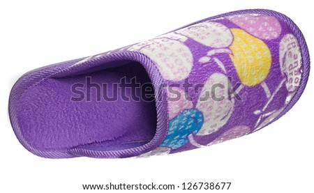 woman slipper on white background - stock photo