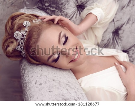 Woman Smile and closed eyes bride link - stock photo