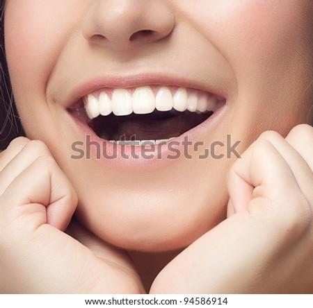 woman smile closeup  studio shot - stock photo
