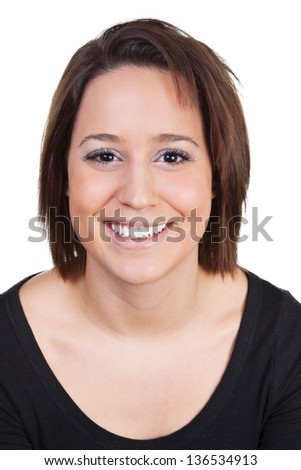Woman smiling bright - stock photo