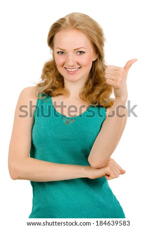 woman smiling with her thumbs up - isolated - stock photo