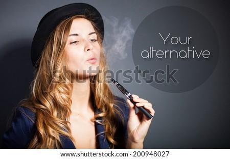 Woman smoking e-cigarette with smoke, quote - stock photo