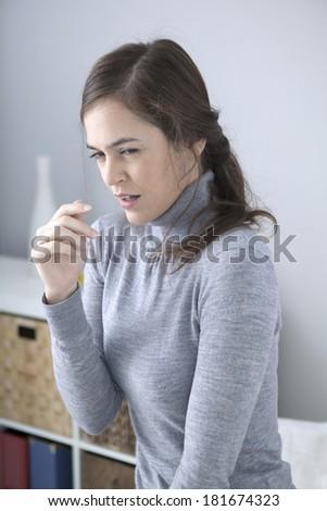 Woman Sneezing - stock photo