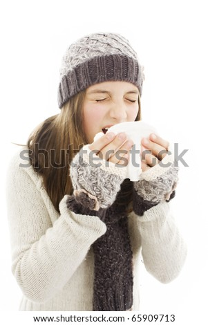 Woman Sneezing.  Winter style - isolated on white - stock photo