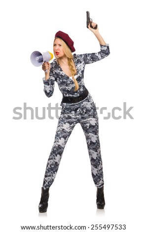 Woman soldier with gun and loudspeaker isolated on white - stock photo