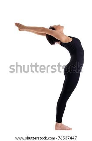 woman stand in yoga pose - urdhva hastanasana - stock photo