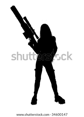 Woman standing and holding a gun silhouette - stock photo