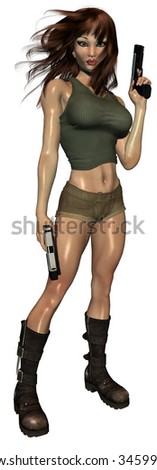 Woman standing and holding two guns - stock photo