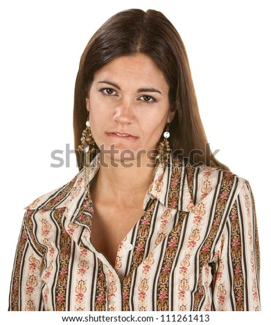 Woman staring and biting her lip over white background - stock photo