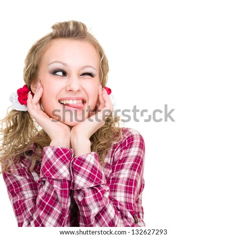 Woman sticking her tongue out Isolated on white background/ - stock photo