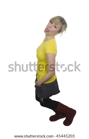 Woman Sticking Tongue Out - stock photo