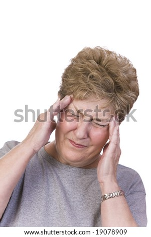 Woman suffering with a headache - stock photo