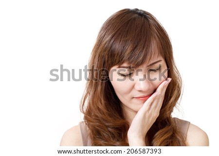 woman suffers from toothache - stock photo
