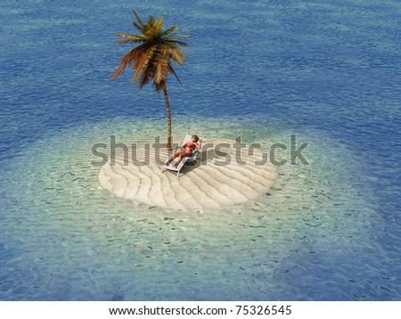 woman sunbathing in lounge on small island - stock photo