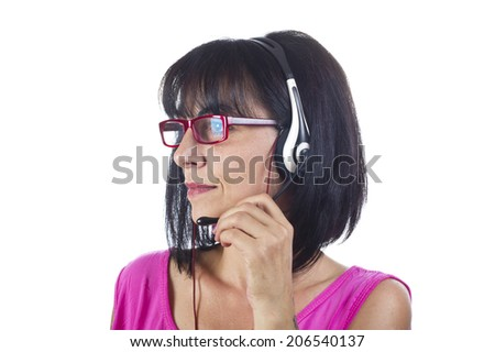 Woman support phone operator in headset, at office  - stock photo