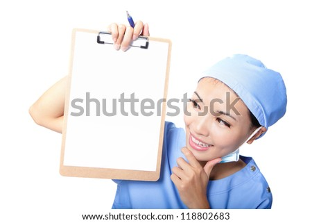 Woman surgeon doctor showing clipboard with empty copy space for your text or design isolated on white background, asian female model - stock photo
