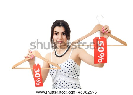 Woman surprised by sales and discounts - stock photo