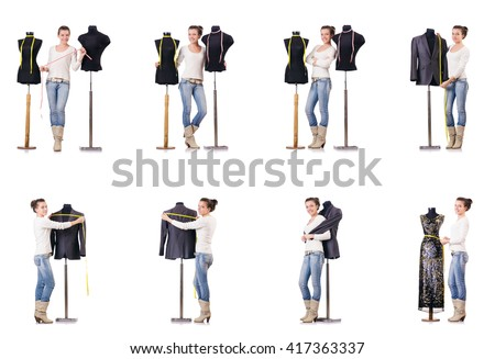 Woman tailor working on dress - stock photo