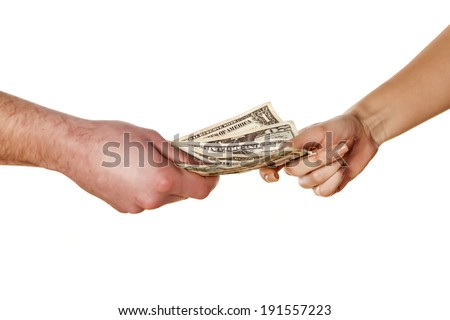 woman takes money from the man's hands - stock photo