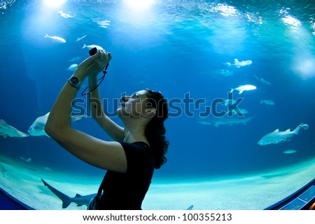 Woman taking pictures of fish in front of aquarium. - stock photo
