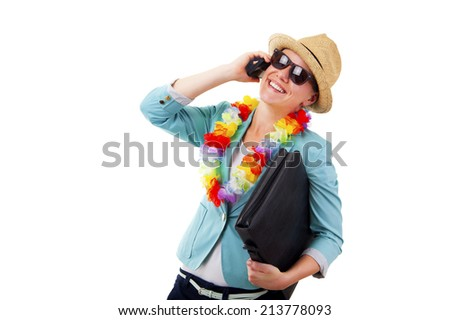 woman talking by phone smiling in hawaii flowers over white background - stock photo
