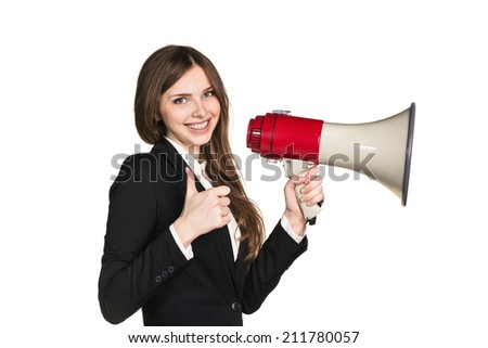 Woman talking through a megaphone - isolated over a white background - stock photo