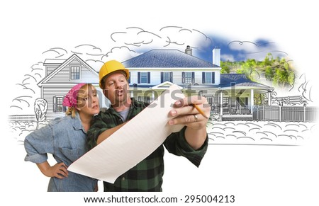 Woman Talking with Contractor Over House Drawing and Photo Combination on White. - stock photo