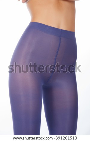 Woman tall legs with blue purple violet short stockings leggings tights pantyhose without panties isolated on white - stock photo
