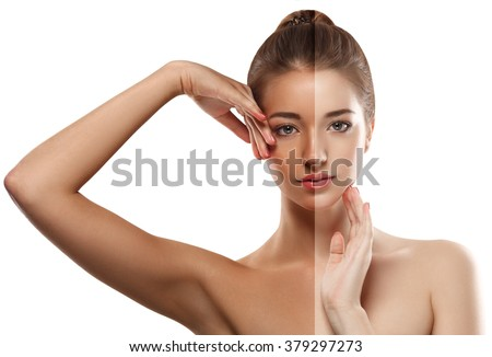 Woman tan half-face beautiful portrait spray  - stock photo