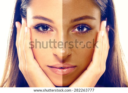 woman tan half face closeup - stock photo