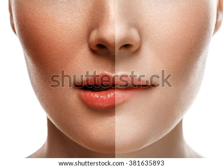 woman tan half face nose lips chin beautiful portrait spray - stock photo