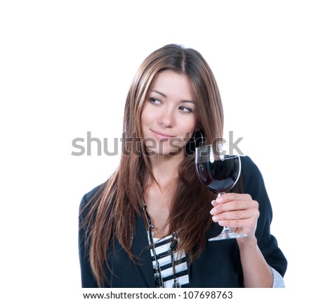 Woman Tasting sampling drinking red wine isolated on a white background - stock photo
