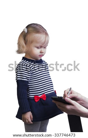 Woman teaching little girl the blonde on a smartphone stylus to draw on the screen - isolates on white - stock photo