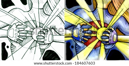 Woman tearing up her clothes. Close-up of woman opening her shirt to reveal sunshine inside her. On the left side black and white drawing. On the right side watercolor illustration - stock photo