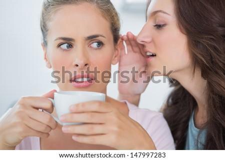 Woman telling secret to her friend while drinking coffee - stock photo