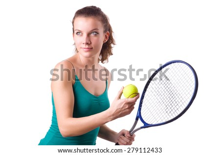Woman tennis player isolated on white - stock photo