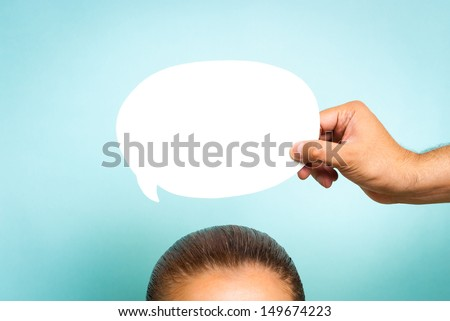 Woman thinking concept on blue background - stock photo