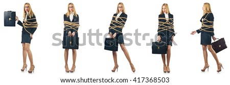 Woman tied up isolated on the white background - stock photo