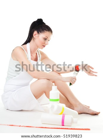Woman tired from paintings depict concept commit suicide - stock photo