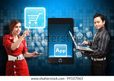 Woman touch the Cart icon from mobile phone - stock photo