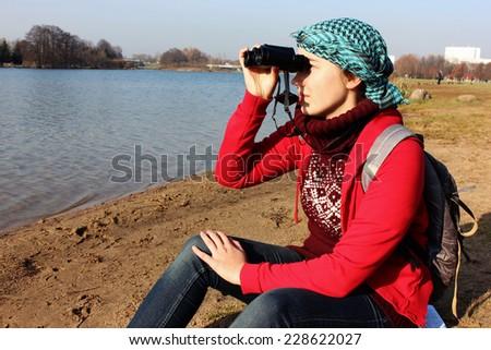 Woman traveler, Hitchhiker, Sporty woman, Hiker - stock photo