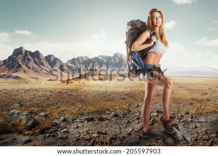 Woman Traveler with Backpack hiking in Mountains with beautiful summer landscape - stock photo