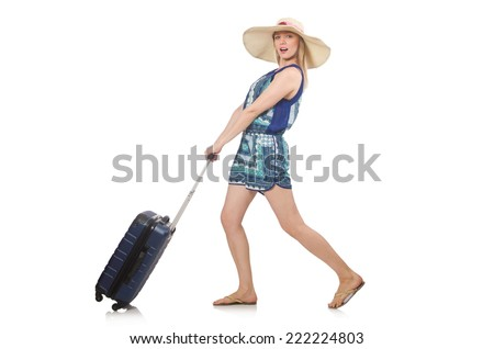 Woman travelling on summer vacation - stock photo