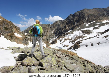 Woman travels to the mountains and admires the view - stock photo