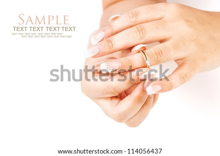 Woman tries on her beautiful ring - stock photo