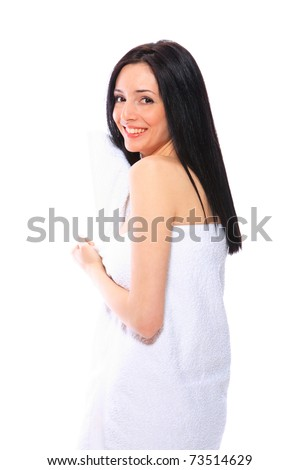 woman under towel over white background - stock photo