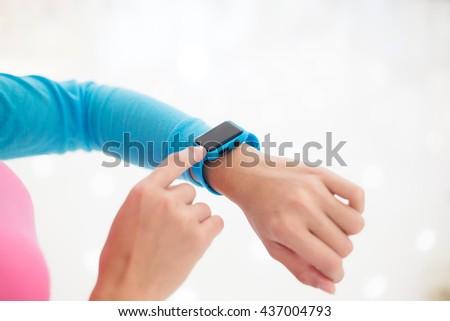 Woman use of smart watch - stock photo