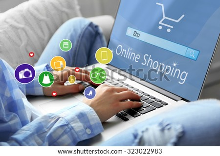 Woman using laptop. online shopping - stock photo
