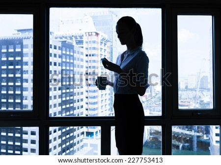 Woman using mobile phone at the office - stock photo